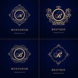 Monogram design elements, graceful template. Calligraphic elegant line art logo design. Letter emblem sign B, M, R for Royalty, bu Stock Photos