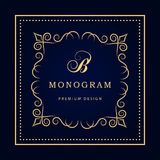 Monogram design elements, graceful template. Calligraphic elegant line art logo design. Letter emblem sign B for Royalty, business Royalty Free Stock Photos
