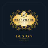 Monogram design elements, graceful template. Calligraphic elegant line art logo design. Letter emblem sign B for Royalty, business Royalty Free Stock Images