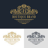 Monogram design elements, graceful template. Calligraphic elegant line art logo design. Letter emblem sign B, S, C for Royalty