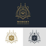 Monogram design elements, graceful template. Calligraphic elegant line art logo design. Letter emblem sign W, V, Z for Royalty. Business card, Boutique, Hotel Royalty Free Stock Photo
