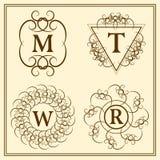 Monogram design elements, graceful template. Calligraphic elegant line art logo design. Letter emblem T, R, M, W for Royalty, busi Stock Images