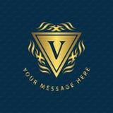 Monogram design elements, graceful template. Calligraphic Elegant line art logo design Letter emblem V identity for Restaurant,  Stock Image