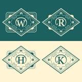Monogram design elements, graceful template. Calligraphic elegant line art logo design. Letter emblem W, R, H, K for Royalty, busi Royalty Free Stock Images