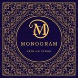 Monogram design elements, graceful template. Calligraphic elegant line art logo design. Letter M. Abstract decorative background w Stock Photography