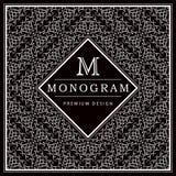 Monogram design elements, graceful template. Calligraphic elegant line art logo design. Letter M. Black and white Abstract decorat Stock Photography