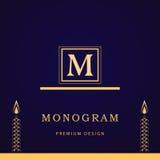 Monogram design elements, graceful template. Calligraphic elegant line art logo design. Letter M. Business sign for Royalty, Bouti Royalty Free Stock Photos