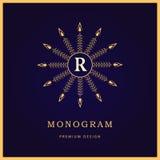 Monogram design elements, graceful template. Calligraphic elegant line art logo design. Letter R. Business sign for Royalty, Bouti Stock Photo
