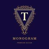 Monogram design elements, graceful template. Calligraphic elegant line art logo design. Letter T. Business sign for Royalty, Bouti Stock Photography
