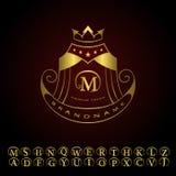 Monogram design elements, graceful template. Calligraphic elegant line art logo design. Letters gold emblem M for Royalty, busines Stock Photos