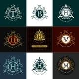 Monogram design elements, graceful template. Calligraphic elegant line art logo design. Royalty Free Stock Photography