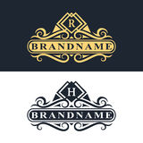Monogram design elements, graceful template. Calligraphic Elegant line art logo design. Vector illustration of Monogram design elements, graceful template stock illustration
