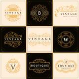 Monogram design elements, graceful template. Calligraphic elegant line art logo design Royalty Free Stock Images