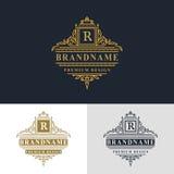 Monogram design elements, graceful template. Elegant line art logo design. Beautiful frame. Gold Emblem letter R for Restaurant. Web design, Boutique, Hotel vector illustration