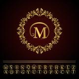 Monogram design elements, graceful template. Elegant line art logo design. Business gold emblem letter M for Restaurant, Royalty, Royalty Free Stock Photography