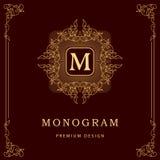 Monogram design elements, graceful template. Elegant line art logo design. Business sign, identity for Restaurant, Royalty, Boutiq Royalty Free Stock Image