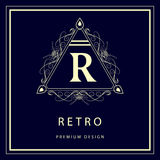 Monogram design elements, graceful template. Elegant line art logo design. Business sign, identity for Restaurant, Royalty, Boutiq Stock Images