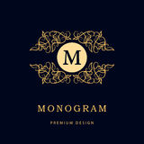 Monogram design elements, graceful template. Elegant line art logo design. Business sign, identity for Restaurant, Royalty, Boutiq Royalty Free Stock Photos