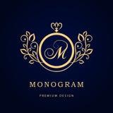 Monogram design elements, graceful template. Elegant line art logo design. Business sign, identity for Restaurant, Royalty. Vector illustration of Monogram royalty free illustration