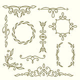 Monogram design elements, graceful template. Elegant line art logo design, frames and borders. Vector illustration Stock Photography