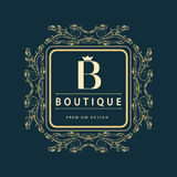 Monogram design elements, graceful template. Elegant line art logo design. Letter B. Business sign, identity for Restaurant, Royal Stock Images