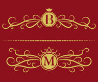 Monogram design elements, graceful template. Elegant line art logo design. Letter B, M. Business sign, identity for Restaurant, Ro Royalty Free Stock Images