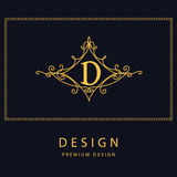 Monogram design elements, graceful template. Elegant line art logo design. Letter D. Emblem. Vector illustration Stock Image