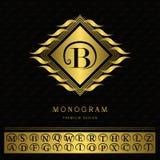 Monogram design elements, graceful template. Elegant line art logo design. Letter emblem B. Gold Vintage Insignia or Logotype. Bus Royalty Free Stock Image