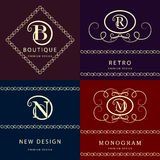 Monogram design elements, graceful template. Elegant line art logo design. Letter M, N, R , B. Emblem. Vector illustration Stock Photos