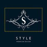 Monogram design elements, graceful template. Elegant line art logo design. Letter S. Emblem. Vector illustration Royalty Free Stock Images