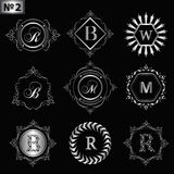 Monogram design elements, graceful template. Elegant line art logo design. Silver Business sign identity for Restaurant, Royalty, Stock Photo