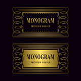 Monogram design elements, graceful template. Luxury gold frame. Calligraphic elegant line art logo design for business cards, Roya Royalty Free Stock Photography