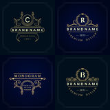 Monogram design elements, graceful template Royalty Free Stock Photos