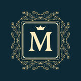 Monogram design elements, graceful template Royalty Free Stock Images