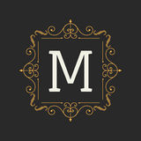 Monogram design elements template. Letter Vintage Insignia or Logotype. Calligraphic lineart design. Business sign. Identity, label, badge, Cafe, Hotel. Vector Stock Image