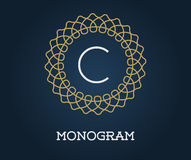 Monogram Design Template with Letter Vector Illustration Premium Royalty Free Stock Images