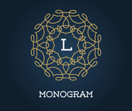 Monogram Design Template with Letter Vector Illustration Premium Royalty Free Stock Photo
