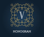 Monogram Design Template with Letter Vector Illustration Premium Royalty Free Stock Photography