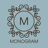 Monogram design. Vector floral outline frame or Royalty Free Stock Photo