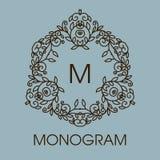 Monogram design. Vector floral outline frame or Royalty Free Stock Images