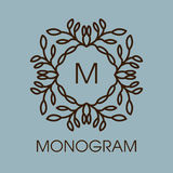 Monogram design. Vector floral outline frame or Royalty Free Stock Image