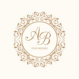 Monogram. Elegant floral monogram design template for one or two letters . Wedding monogram. Calligraphic elegant ornament. Vector illustration Stock Photography