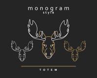 Monogram elk. Totem moose. Elk Horn. Set of monogrammed deer. Royalty Free Stock Photos
