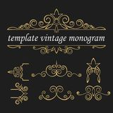 Templates vintage elements on a black background. Gold decorative frame. Interwoven vintage ornament. royalty free illustration
