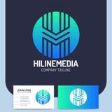 Monogram för bokstavsH-logo Massmedialinje idérik banddesign för massmedia royaltyfri illustrationer