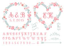 Monogram in floral frames, vector set. Monogram in floral frames, wedding invitation, set of vector design elements Stock Photos