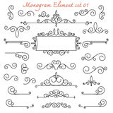 Monogram flourish swirl for design and d. Vector set monogram flourish swirl for design and decoration royalty free illustration