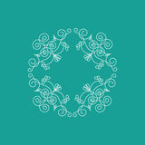 Monogram frame. It consists of lines of different types of spirals, curves, intersections. Background blue, white monogram Stock Photography