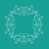 Monogram frame. It consists of lines of different types of spirals, curves, intersections. Background blue, white monogram Stock Image