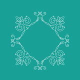 Monogram frame. It consists of lines of different types of spirals, curves, intersections. Background blue, white monogram Royalty Free Stock Photos